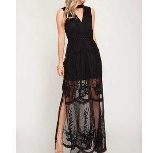 she and sky black lace key hole top maxi dress